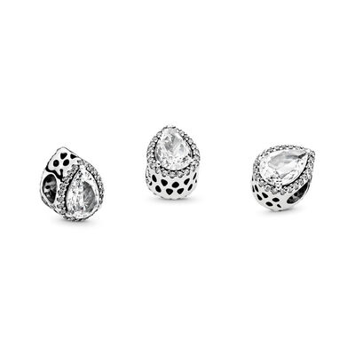 Strahlender Tropfen Charm, Sterling-Silber, Kein anderes Material, Keine Farbe, Cubic Zirkonia - PANDORA - #796245CZ