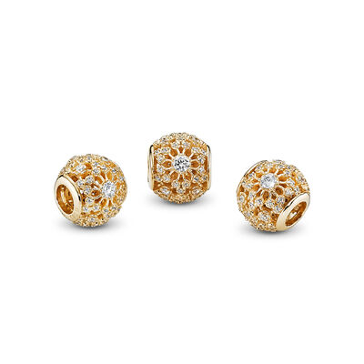 Innerer Glanz Charm, 14-K-Gold, Kein anderes Material, Keine Farbe, Cubic Zirkonia - PANDORA - #750838CZ