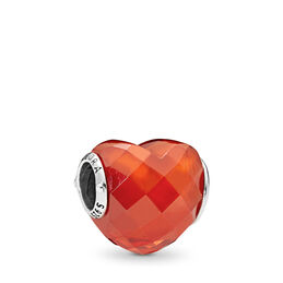 Orange Shape of Love Charm, Sterling-Silber, Kein anderes Material, Orange, Cubic Zirkonia - PANDORA - #796563OCZ