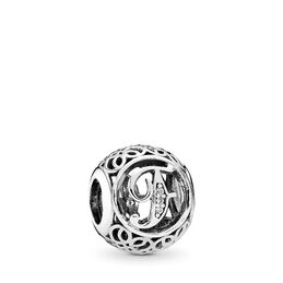 """Vintage """"F"""" Charm, Sterling-Silber, Kein anderes Material, Keine Farbe, Cubic Zirkonia - PANDORA - #791850CZ"""