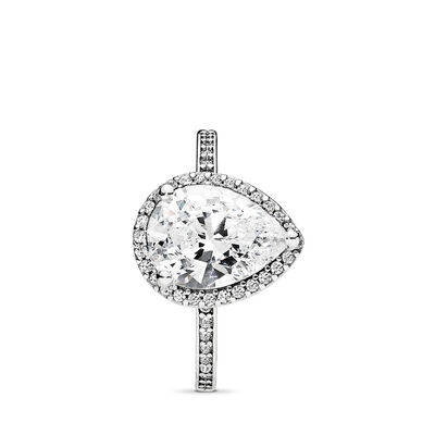 Strahlender Tropfen Ring, Sterling-Silber, Kein anderes Material, Keine Farbe, Cubic Zirkonia - PANDORA - #196251CZ-52