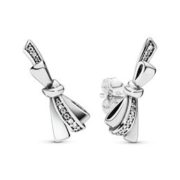 Brilliant Bows Ohrringe, Sterling-Silber, Kein anderes Material, Keine Farbe, Cubic Zirkonia - PANDORA - #297234CZ