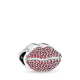 Kussmund Charm, Sterling-Silber, Kein anderes Material, Rot, Cubic Zirkonia - PANDORA - #796562CZR