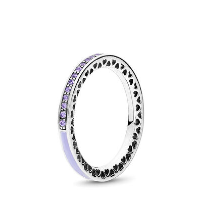 Strahlende Herzen lila Ring, Sterling-Silber, Emaille, Lila, Cubic Zirkonia - PANDORA - #191011ACZ
