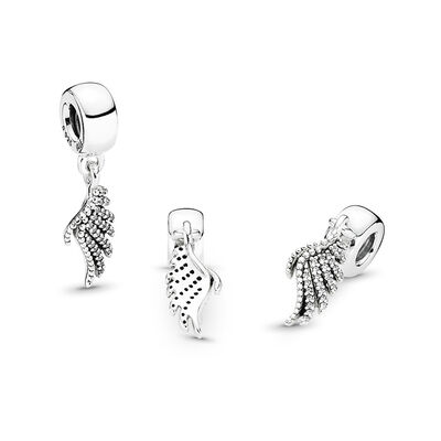Majestic Feathers Charm, Sterling-Silber, Kein anderes Material, Keine Farbe, Cubic Zirkonia - PANDORA - #791750CZ