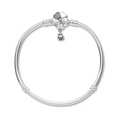 Moments Silver Armband, Wildflower Meadow Clasp, Sterling-Silber, Emaille, Lila, Verschiedene Steine - PANDORA - #597124NLC