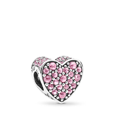 Pink Dazzling Heart, Sterling-Silber, Kein anderes Material, Pink, Cubic Zirkonia - PANDORA - #792069PCZ
