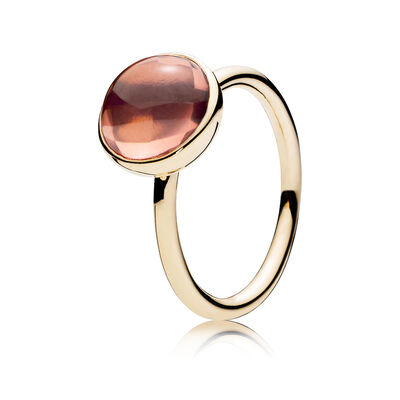 Rot schimmerndes Tröpfchen Ring, 14-K-Gold, Kein anderes Material, Pink, Kristall - PANDORA - #150185NBP
