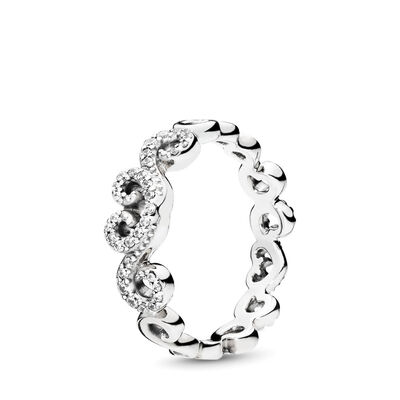 Heart Swirls Ring, Sterling-Silber, Kein anderes Material, Keine Farbe, Cubic Zirkonia - PANDORA - #197117CZ