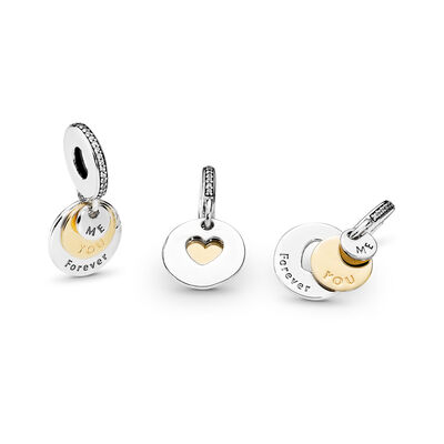 You & Me Forever Charm, Bicolor: 14-K-Gold, Kein anderes Material, Keine Farbe, Cubic Zirkonia - PANDORA - #791979CZ