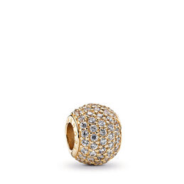 Goldener Pavé-Kugel Charm, 14-K-Gold, Kein anderes Material, Keine Farbe, Cubic Zirkonia - PANDORA - #750819CZ