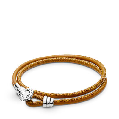PANDORA Moments Double Leder Armband, Golden Tan