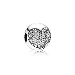 Pavé-Herz Weiß, Clip, Sterling-Silber, Kein anderes Material, Keine Farbe, Cubic Zirkonia - PANDORA - #791053CZ