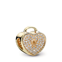 Pavé Herzschloss Charm, 14-K-Gold, Kein anderes Material, Keine Farbe, Cubic Zirkonia - PANDORA - #750833CZ