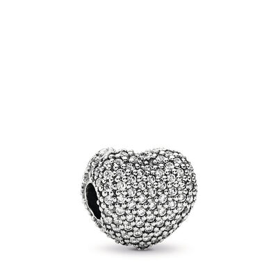 Pavé Herz-Clip, Sterling-Silber, Kein anderes Material, Keine Farbe, Cubic Zirkonia - PANDORA - #791427CZ