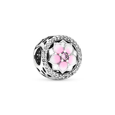 Magnolie Charm, Sterling-Silber, Emaille, Pink, Cubic Zirkonia - PANDORA - #792085PCZ