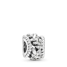 Dazzling Grain Swirls Charm, Sterling-Silber, Kein anderes Material, Keine Farbe, Cubic Zirkonia - PANDORA - #797597CZ