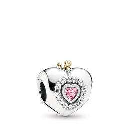 Pink Princess Heart Charm, Bicolor: 14-K-Gold, Kein anderes Material, Pink, Cubic Zirkonia - PANDORA - #791375PCZ