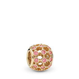 In the Spotlight Openwork Charm, 14-K-Gold, Kein anderes Material, Pink, Cubic Zirkonia - PANDORA - #750825CZS