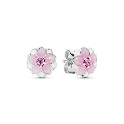 Magnolie Ohrstecker, Sterling-Silber, Emaille, Pink, Cubic Zirkonia - PANDORA - #290739PCZ