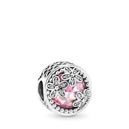 Funkelnde Gänseblümchen-Wiese Charm, Sterling-Silber, Kein anderes Material, Pink, Cubic Zirkonia - PANDORA - #792055PCZ