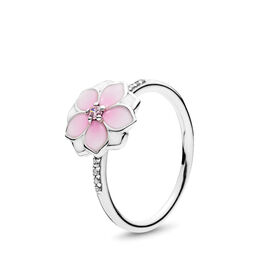 Magnolie Ring, Sterling-Silber, Emaille, Pink, Cubic Zirkonia - PANDORA - #191026PCZ