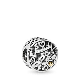 Familien-Tribut Charm, Bicolor: 14-K-Gold, Kein anderes Material, Keine Farbe, Cubic Zirkonia - PANDORA - #796267CZ
