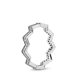 Shimmering Zigzag Ring, Sterling-Silber, Kein anderes Material, Keine Farbe, Cubic Zirkonia - PANDORA - #197751CZ