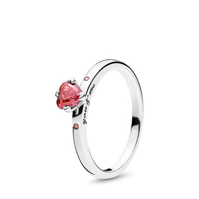 Du & Ich Ring, Sterling-Silber, Kein anderes Material, Pink, Cubic Zirkonia - PANDORA - #196574CZRMX