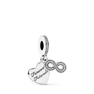 Forever Friends Charm, Sterling-Silber, Kein anderes Material, Keine Farbe, Cubic Zirkonia - PANDORA - #791948CZ