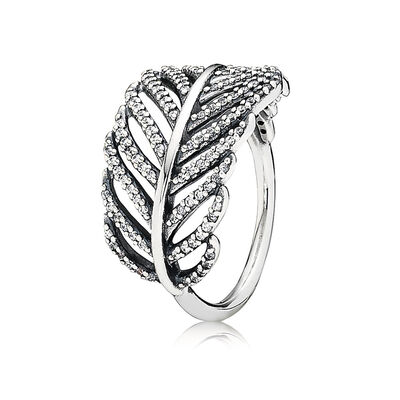 Feder-Ring aus Sterling-Silber, Sterling-Silber, Kein anderes Material, Keine Farbe, Cubic Zirkonia - PANDORA - #190886CZ