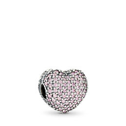 Pavé Herz-Clip rosa, Sterling-Silber, Kein anderes Material, Pink, Cubic Zirkonia - PANDORA - #791427PCZ