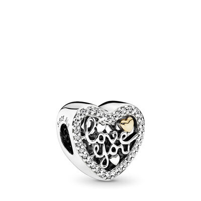 Love You Charm, Bicolor: 14-K-Gold, Kein anderes Material, Keine Farbe, Cubic Zirkonia - PANDORA - #792037CZ