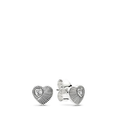 Vintage Heart Fans Ohrringe, Sterling-Silber, Kein anderes Material, Keine Farbe, Cubic Zirkonia - PANDORA - #297298CZ