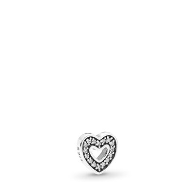 Funkelndes Herz Medaillon-Element, Sterling-Silber, Kein anderes Material, Keine Farbe, Cubic Zirkonia - PANDORA - #792163CZ