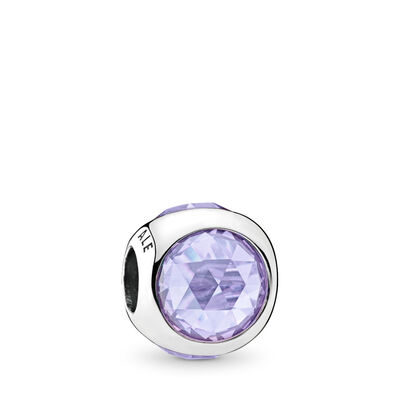Strahlendes Tröpfchen lila Charm, Sterling-Silber, Kein anderes Material, Lila, Cubic Zirkonia - PANDORA - #792095LCZ