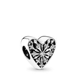 Winter-Herz Charm, Sterling-Silber, Kein anderes Material, Keine Farbe, Cubic Zirkonia - PANDORA - #791996CZ
