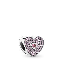 Liebes Pavé-Herz Charm, Sterling-Silber, Kein anderes Material, Pink, Cubic Zirkonia - PANDORA - #791555CZS