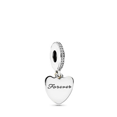Love You Forever, Charm-Anhänger, Bicolor: 14-K-Gold, Kein anderes Material, Keine Farbe, Cubic Zirkonia - PANDORA - #792042CZ