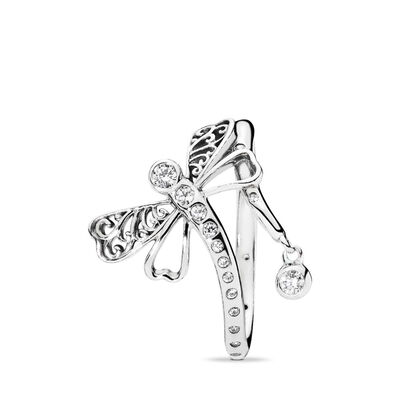 Dreamy Dragonfly Ring, Sterling-Silber, Kein anderes Material, Keine Farbe, Cubic Zirkonia - PANDORA - #197093CZ