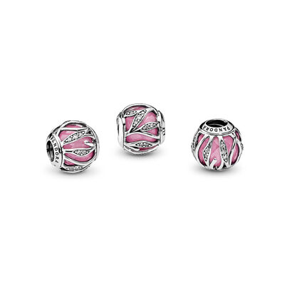 Blätter-Glanz rosa Charm, Sterling-Silber, Kein anderes Material, Pink, Cubic Zirkonia - PANDORA - #791969PCZ