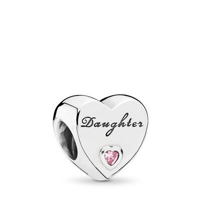 Daughter-Herz Charm, Sterling-Silber, Kein anderes Material, Pink, Cubic Zirkonia - PANDORA - #791726PCZ