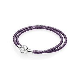 Moments Double Woven Leather Bracelet, Purple, Sterling-Silber, Leder, Lila, Keine Steine - PANDORA - #590745CPE-D