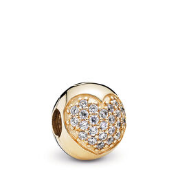 Pavé-Herz Clip, 14-K-Gold, Kein anderes Material, Keine Farbe, Cubic Zirkonia - PANDORA - #750832CZ