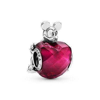 Disney, Mickey Love Heart Charm, Sterling-Silber, Kein anderes Material, Rot, Kristall - PANDORA - #797168NFR