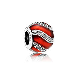 Weihnachtsornament rot Charm, Sterling-Silber, Emaille, Rot, Cubic Zirkonia - PANDORA - #791991EN07