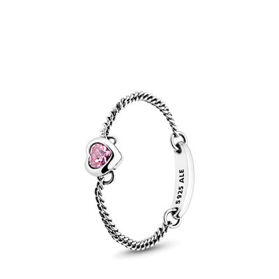 Pink Spirited Heart Ring, Sterling-Silber, Kein anderes Material, Pink, Cubic Zirkonia - PANDORA - #197191PCZ