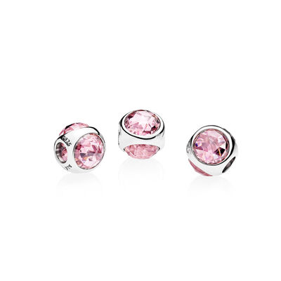 Strahlendes Tröpfchen rosa Charm, Sterling-Silber, Kein anderes Material, Pink, Cubic Zirkonia - PANDORA - #792095PCZ