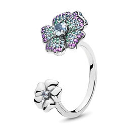 Glorious Blooms Ring, Sterling-Silber, Kein anderes Material, Blau, Kristall - PANDORA - #197086NRPMX